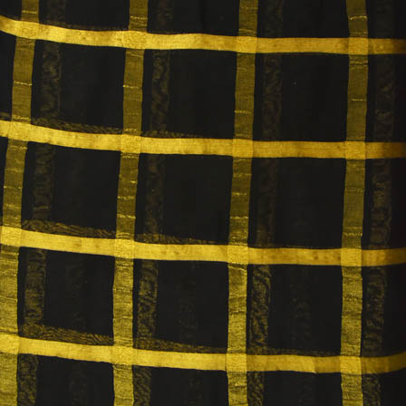 Black and Golden Large Zari Checks Design Georgette Cotton Fabric-29008