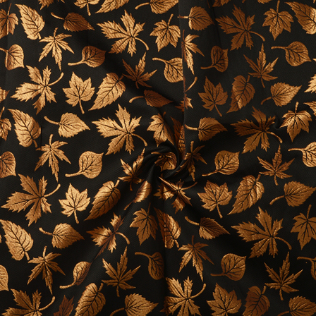 Black and Golden Leaf Design Silk Brocade Fabric-8367