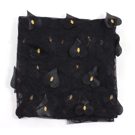 Black and Golden Leaf Net Embroidery Fabric-60882