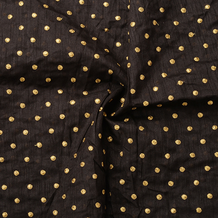 Black and Golden Polka Dot Silk Embroidery Fabric-60166