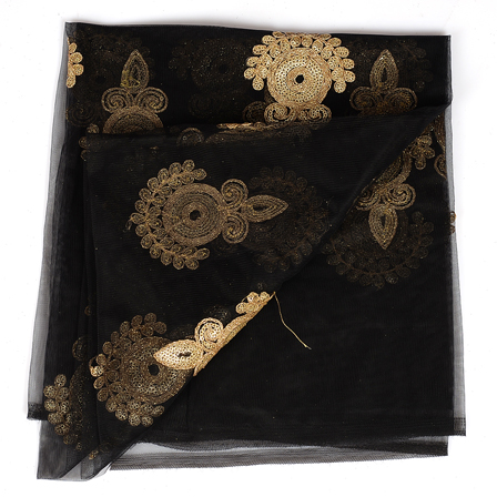 Black and Golden Polka Pattern Embroidery Net Fabric-60293