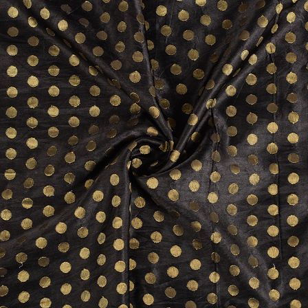 Black and Golden Polka Silk Satin Brocade Fabric -8389