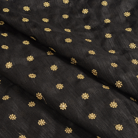 Black and Golden Satin Embroidery Fabric-60634