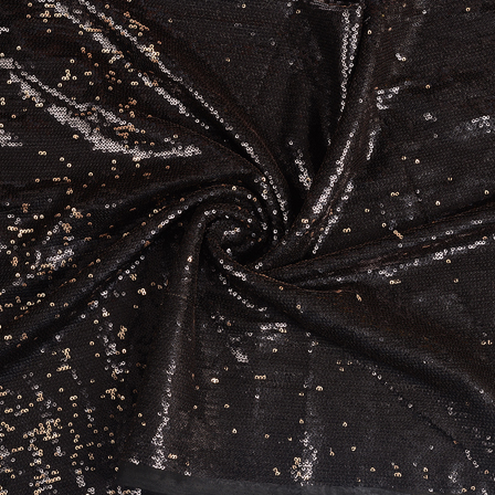 Black and Golden Shiny Sequin Fabric-60641