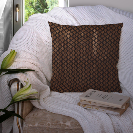 Black and Golden Silk Cushion Cover-35049