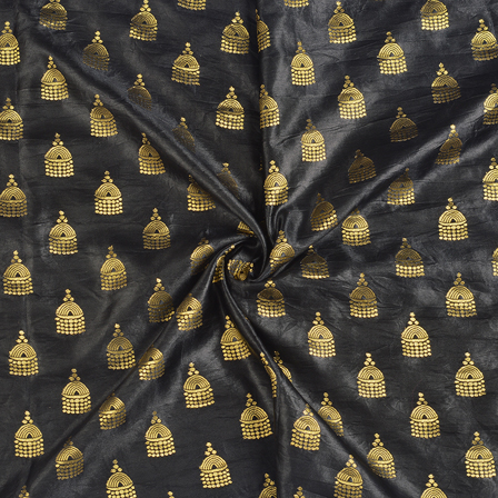 Black and Golden Silk Satin Brocade Fabric-8685