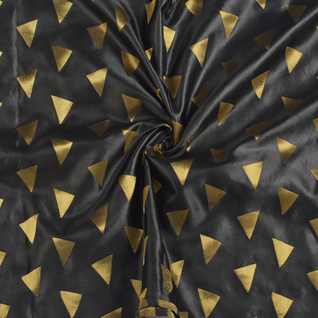 Black and Golden Silk Satin Brocade Fabric-8691