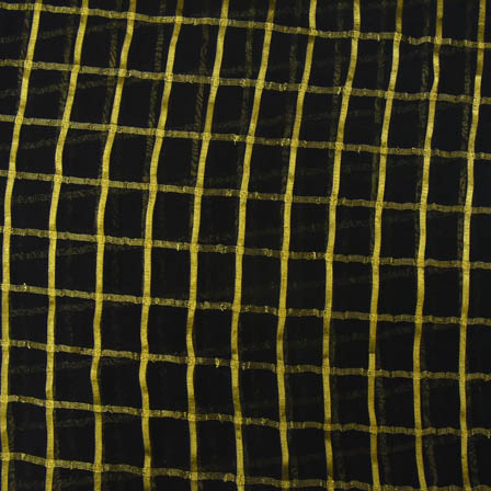 Black and Golden Small Zari Checks Design Georgette Cotton Fabric-29007