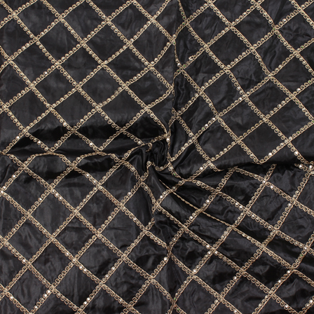 Black and Golden Square Design Silk Embroidery Fabric-60144