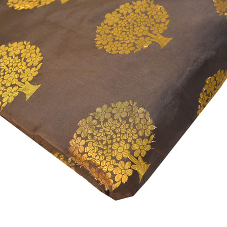 Black and Golden Tree Pattern Brocade Silk Fabric-8212