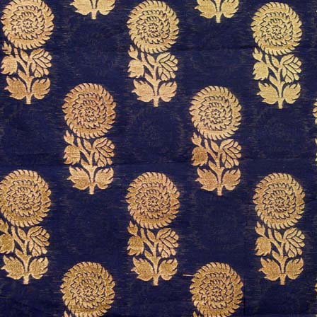buy black and golden zari floral brocade silk fabric by the yard