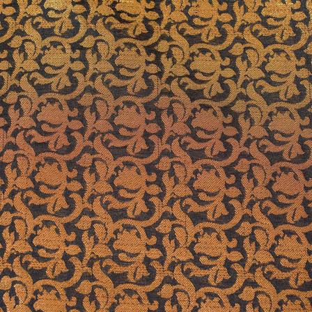 Black and Golden kalamkari flower brocade silk fabric-4692
