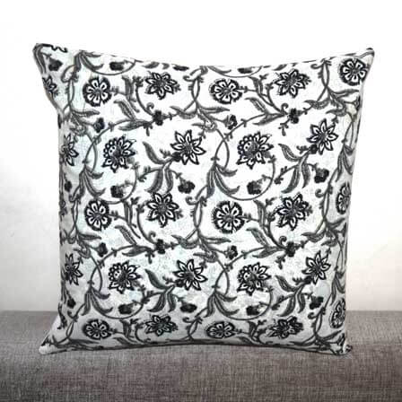 Black and Gray Unique Flower Print Cotton Cushion Cover