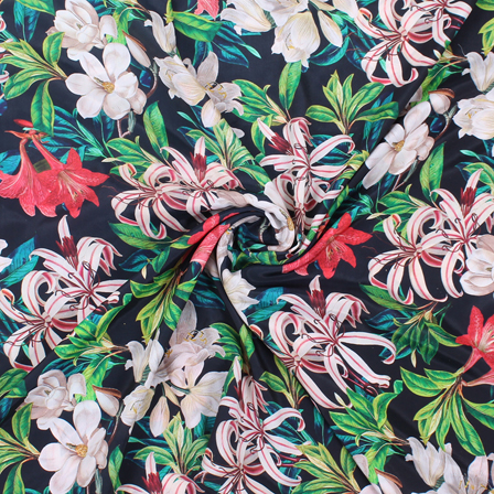 Black and Green Flower Silk Crepe Fabric-18127