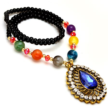 Black and MultiColor Pearls Drop Neckless with Blue Stone Pandent for Women