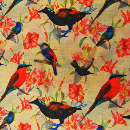 Black and Orange Bird Digital Print On Beige Silk Fabric-24025