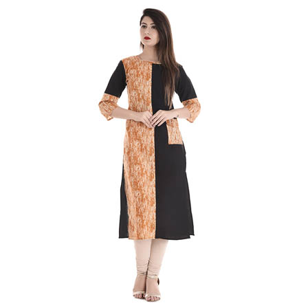Black and Peach 3/4 Sleeve Half Printed and Solid Cotton Kurti-3107