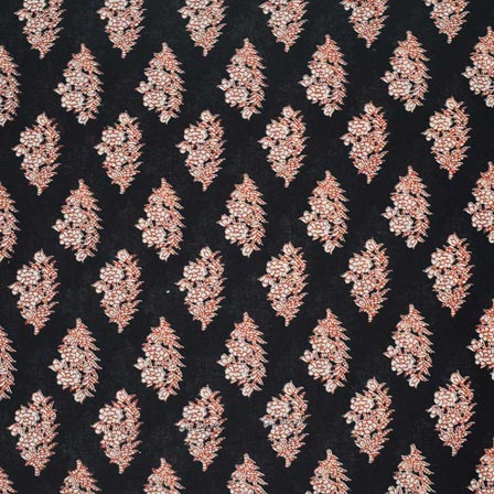 0aa9d59ae86 Buy Black and Peach Floral Pattern Block Print Cotton Fabric by the yard