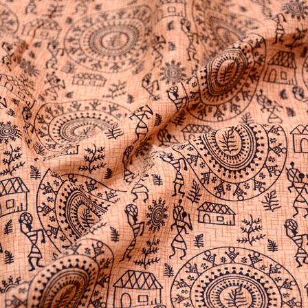 Black and Peach burleigh Pattern Kalamkari Manipuri Silk Fabric 7558