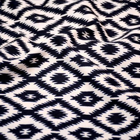 Black and Peach square Pattern Crepe Fabric-6017