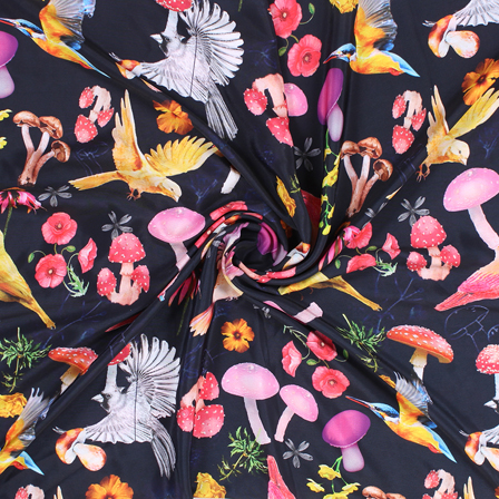 Black and Pink Birds Silk Crepe Fabric-18128