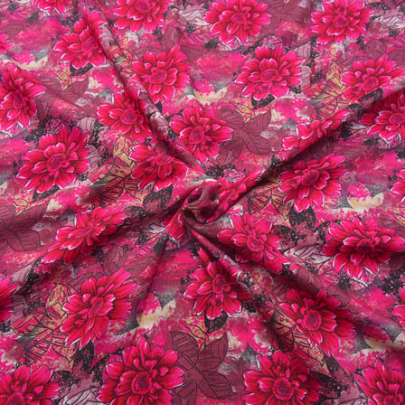 Black and Pink Flower Design Crepe Fabric-18064