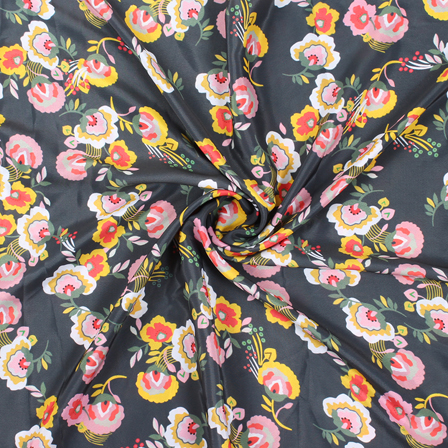 Black and Pink Flower Silk Crepe Fabric-18137