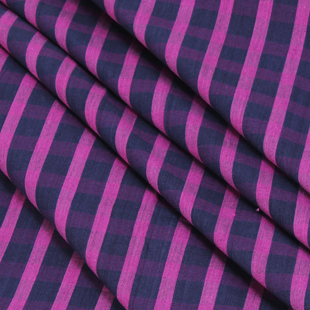 Black and Purple Checks Handloom Cotton Khadi Fabric-40052