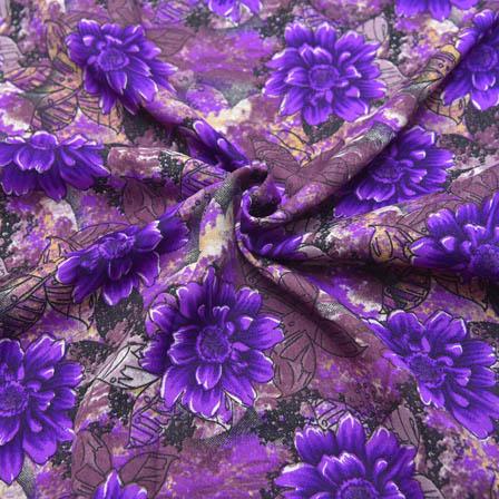 Black and Purple Flower Pattern Crepe Fabric-18030
