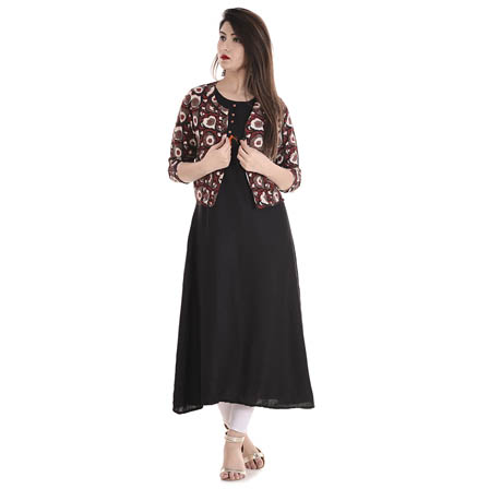 Black and Red 3/4 Sleeve Cotton Jacket With Cut Sleeve Rayon Kurti-3100