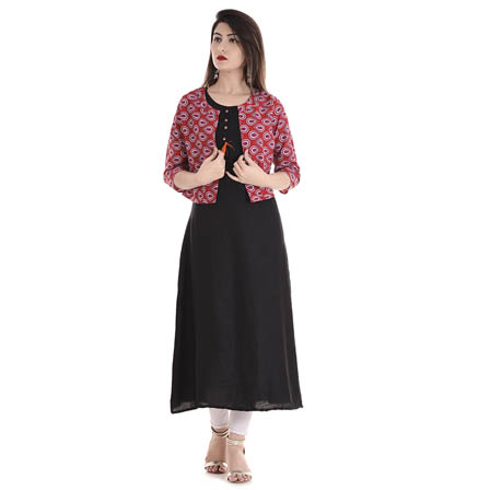 Black and Red 3/4 Sleeve Cotton Jacket With Cut Sleeve Rayon Kurti-3110