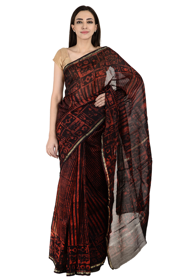 Black and Red Block Print Chanderi Saree-20150