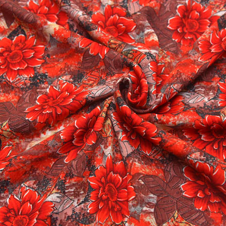 Black and Red Flower Design Crepe Fabric-18029