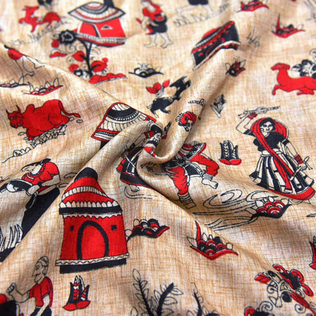 Black and Red Warli Design On Cream Kalamkari Manipuri Silk-16136