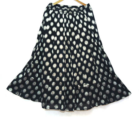 Black and Silver Polka Design Cotton Jacquard Skirt-23026
