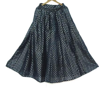 Black and Silver Umbrella Pattern Chanderi  Skirt-23027