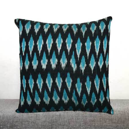 Black and Skyblue Ikat Print Cushion Cover