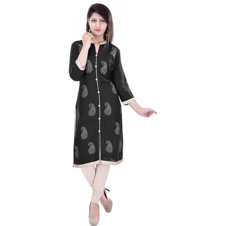 Black and White 3/4 Sleeve Gold and Rubber Print Rayon Kurti-3101