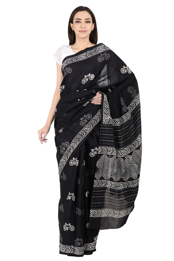 Black and White Bicycle Design Cotton Block Print Saree-20082