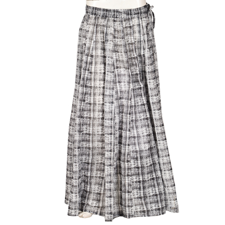 Black and White Block Print Cotton Long Skirt-23108