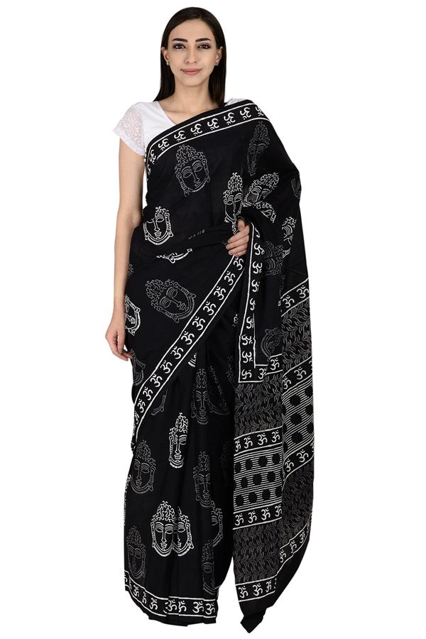 Black and White Buddha Pattern Cotton Kalamkari Saree-20061