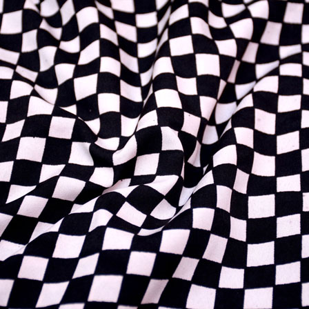 Buy Black And White Check Pattern Crepe Fabric 6019