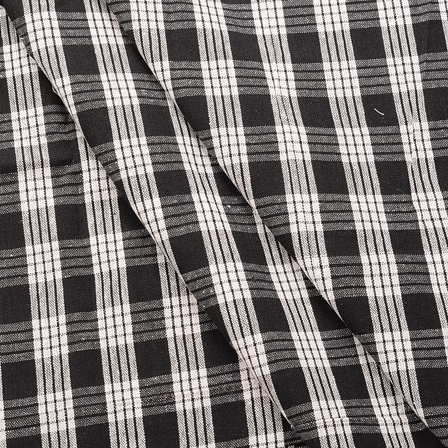 Black and White Checks Pattern Cotton Handloom Khadi Fabric-40170