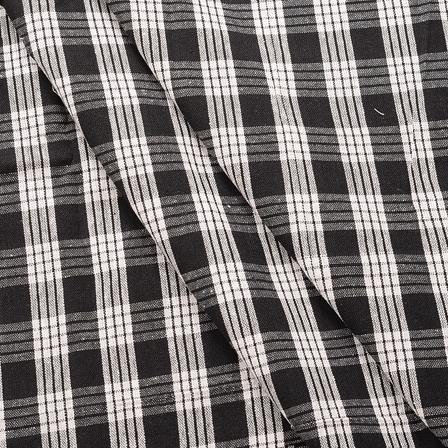 Black and White Checks Pattern Cotton Handloom Khadi Fabric-40170