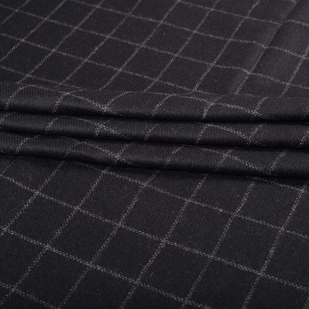 Pure Wool Blazer Fabric (2 MTR)  - Black and White Checks Tweed Wool-40320