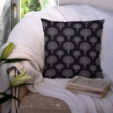 Black and White Cotton Cushion Cover-35013