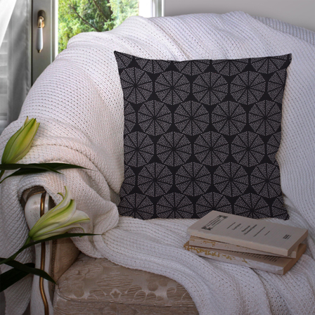 Black and White Cotton Cushion Cover-35015