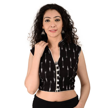 Black and White Cut Sleeve Cotton Ikat Blouse-30164