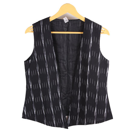 Black and White Cut Sleeve Ikat Cotton Koti Jacket-12227