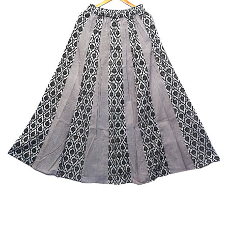 Black and White Floral Design Cotton Skirt-23033